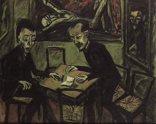 Erich Heckel, Zwei Männer am Tisch (1912)