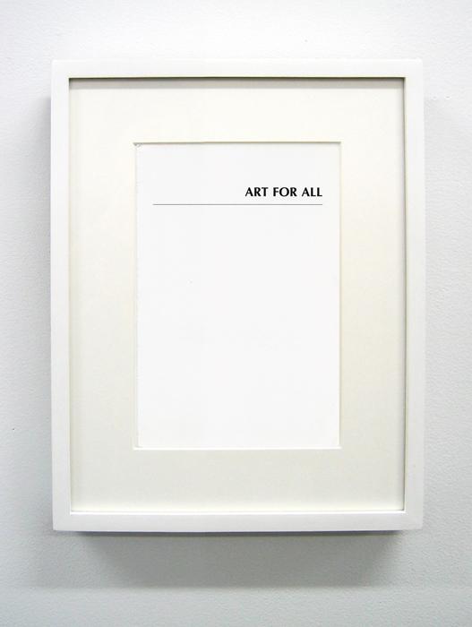 Matthew Higgs, Art for All, 2002