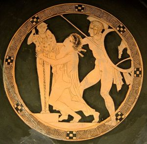 Ajax the Lesser raping Cassandra. Tondo of an Attic red-figure cup, ca. 440-430 BC.