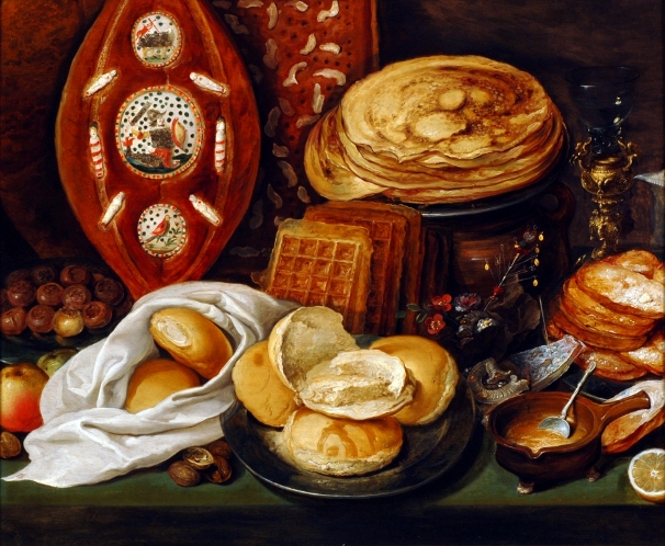 "Winter Still Life with Pancakes, Waffles and Duikevater"", ascribed to Hans Francken (1581-1624)"