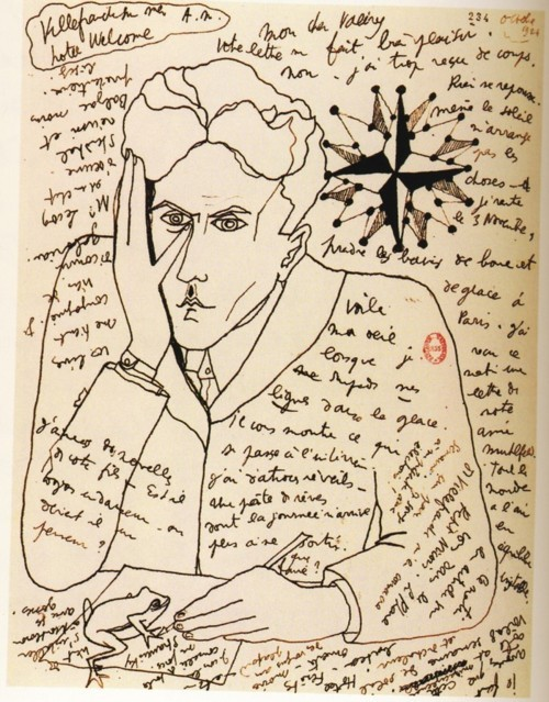 Self-portrait by Cocteau, 1924