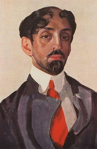Konstantin Sokov, Portrait of Mikhail Kuzmin, (1909).