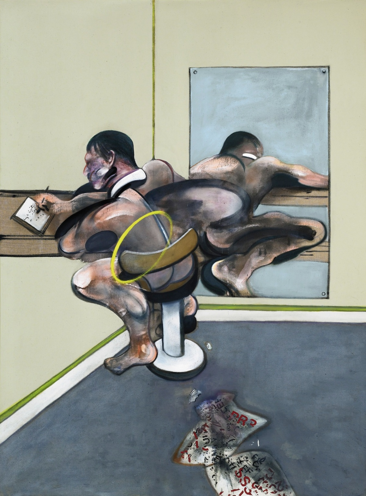 Francis Bacon, Figure Writing Reflected in Mirror (1976)