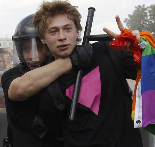 Russia, 2013, gay rights activist detained by police