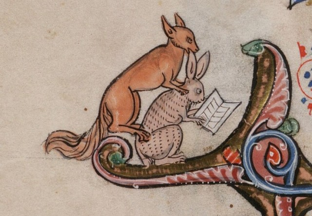 Detail from manuscript of Arthurian Romances in the Beinecke Rare Book Library