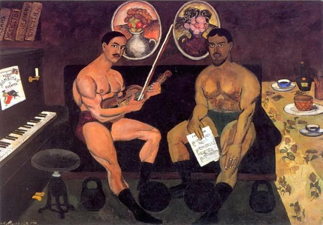 Ilya Mashkov, Self-Portrait with Pyotr Konchalovsky 1910