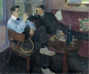 """Young Men in the Garden Pavillion"", Friedrish Ahlers-Hestermann"