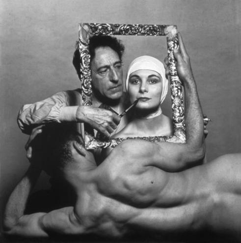 Portrait of Jean Cocteau with actress Ricki Soma and dancer Leo Coleman
